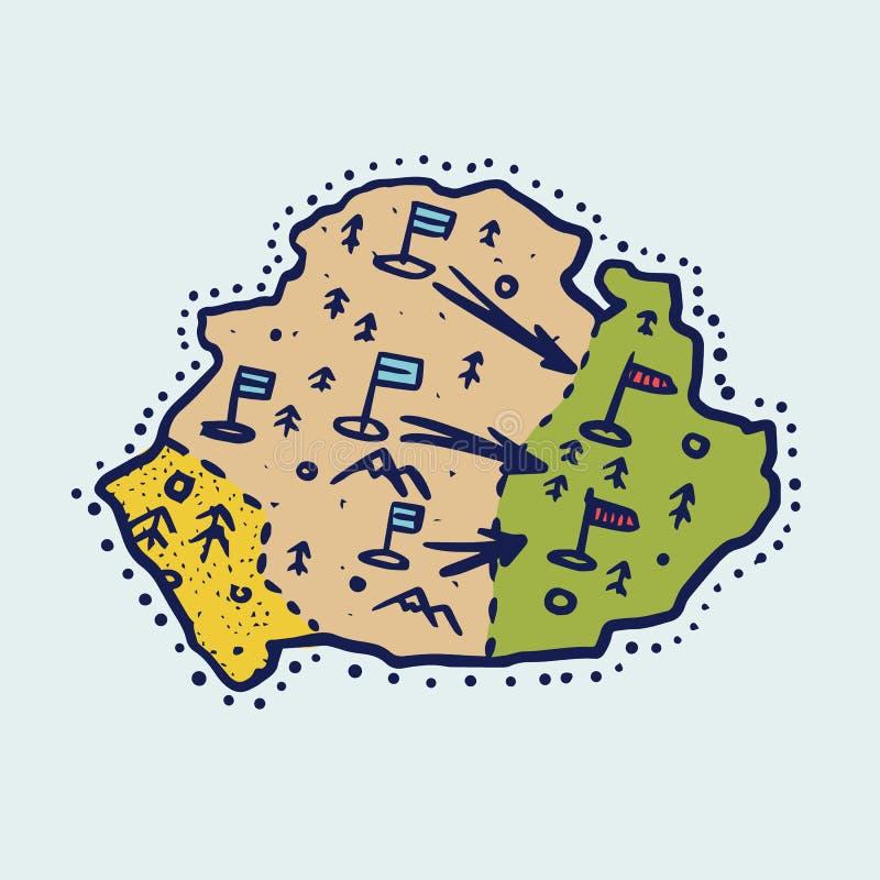Carte de cru du pays Géographie dans le style de bande dessinée Continent ou continent abstrait Croquis grav? tir? par la main illustration stock