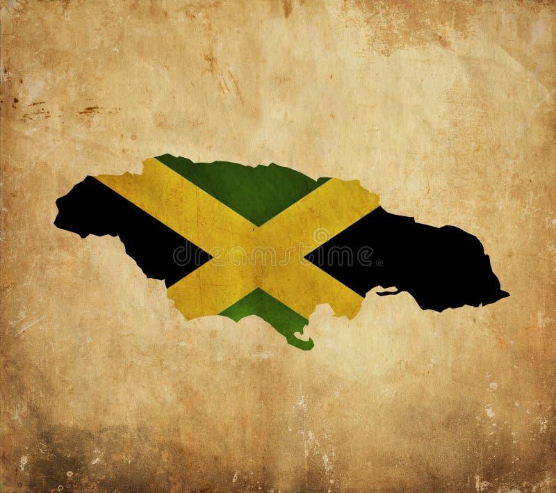 Carte de cru de la Jamaïque sur le papier grunge photos stock