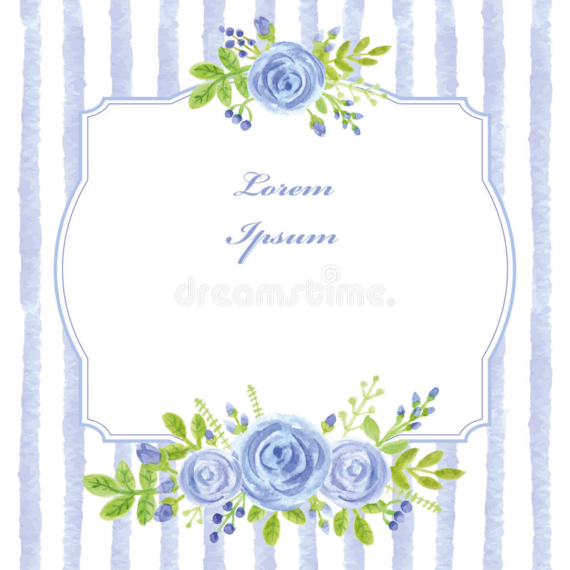 Carte de cru Rose de bleu d'aquarelle, bandes, label illustration stock