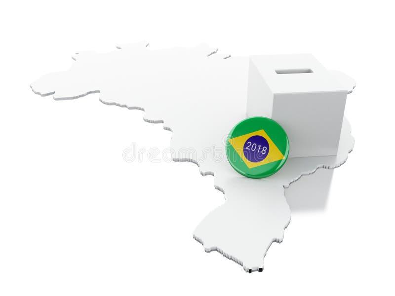 carte de 3d Brésil avec l'urne  Élections 2018 illustration de vecteur
