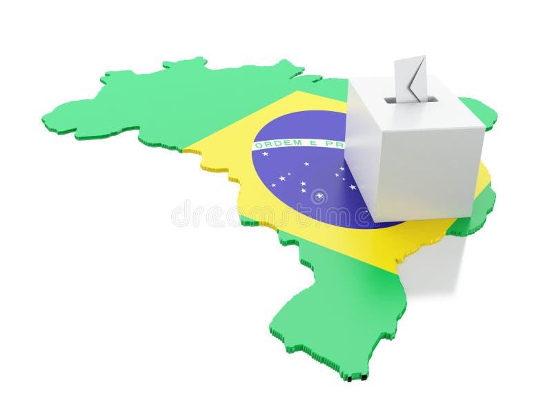 carte de 3d Brésil avec l'urne  Élections 2018 illustration stock