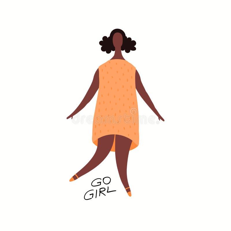 Carte de danse heureuse de femme illustration de vecteur