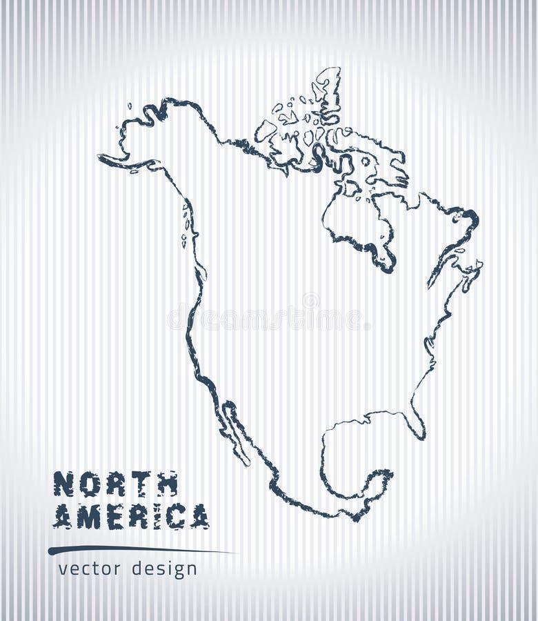 Carte de dessin de craie de vecteur de l'Amérique du Nord d'isolement sur un fond blanc illustration de vecteur