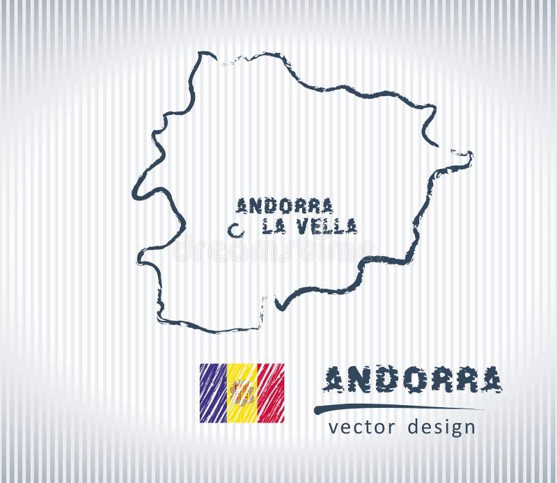 Carte de dessin de craie de vecteur de l'Andorre d'isolement sur un fond blanc illustration libre de droits