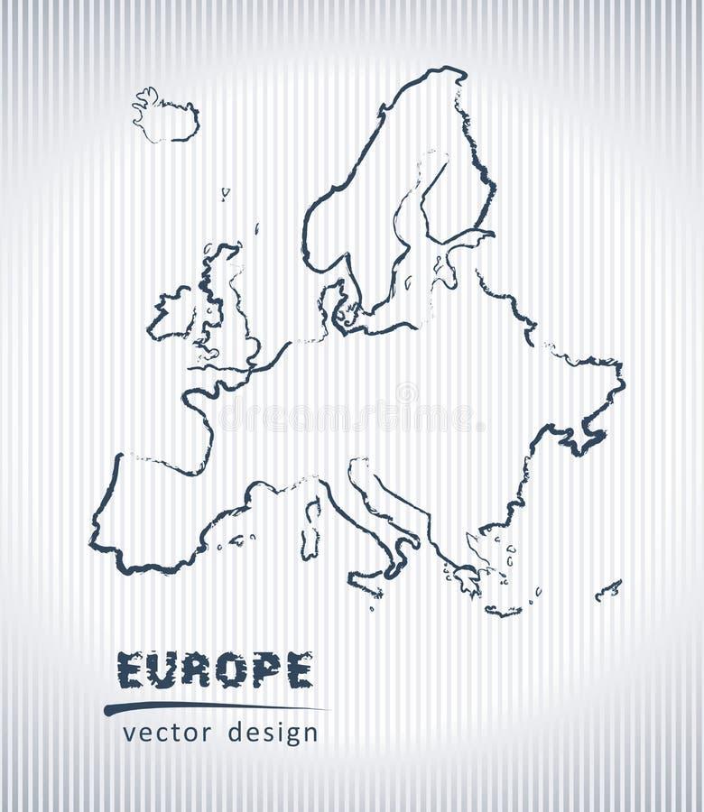 Carte de dessin de craie de vecteur de l'Europe d'isolement sur un fond blanc illustration libre de droits