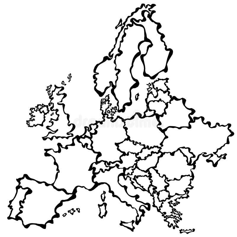 Carte De Dessin De Vecteur De L'Europe Illustration de Vecteur