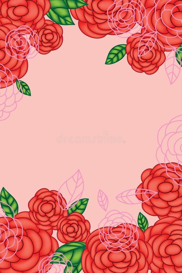 Carte de dessin rouge de Rose illustration libre de droits
