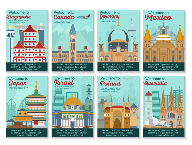 Carte de destinations de voyage Bannière de points de repère dans le vecteur illustration de vecteur