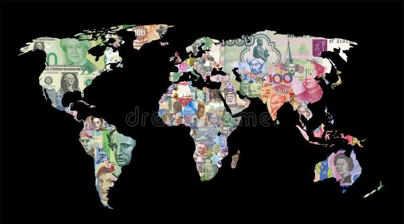 carte de devise du monde photographie stock