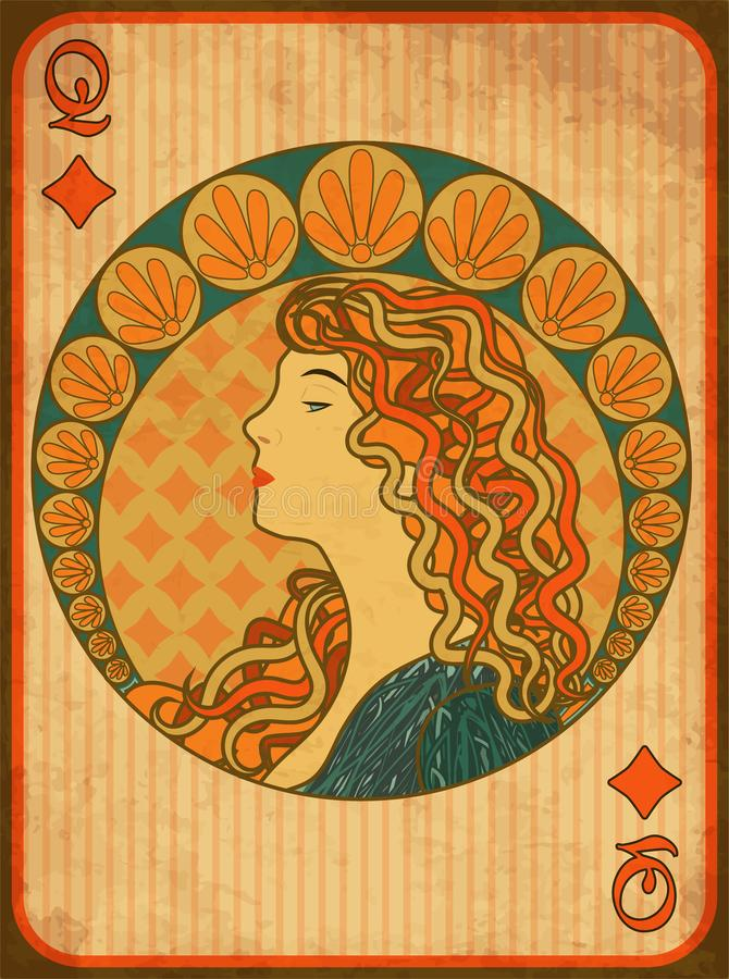 Carte de diamants de tisonnier de reine dans le style d'Art nouveau illustration stock