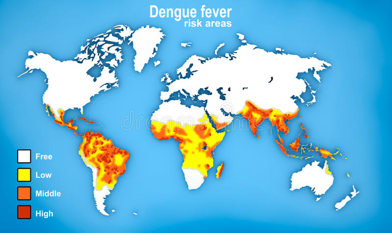 Carte de diffusion de fièvre dengue illustration de vecteur
