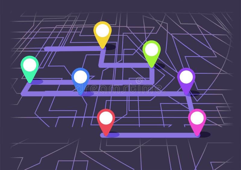 Carte de Digital avec le colorfull sept points La manière de la navigation de ville avec le début et la fin illustration de vecteur