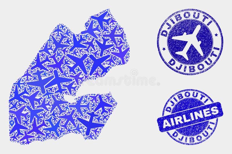 Carte de Djibouti de vecteur de mosaïque de ligne aérienne et joints grunges illustration de vecteur