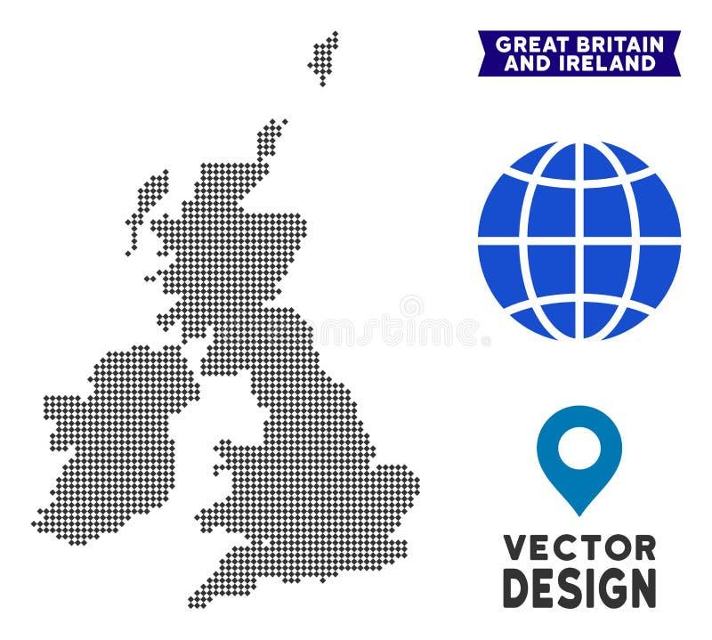 Carte de Dot Great Britain et de l'Irlande illustration libre de droits