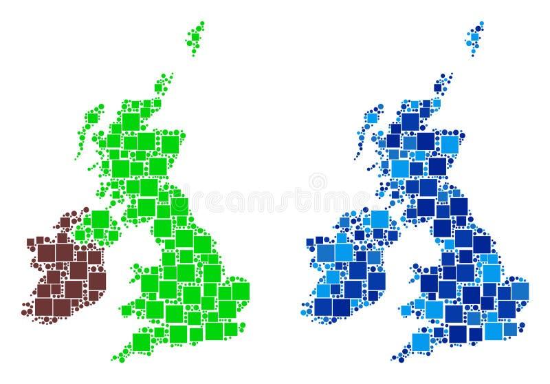 Carte de Dot Great Britain And Ireland avec la variante bleue illustration stock