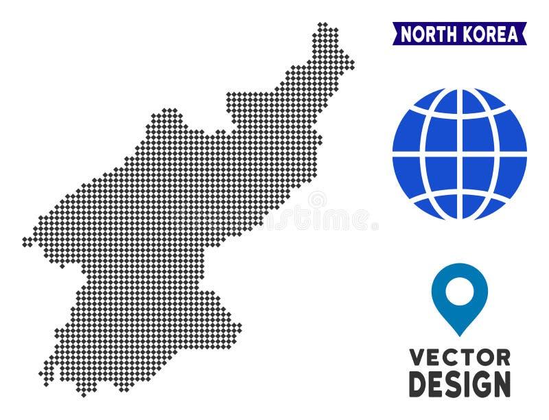 Carte de Dot North Korea illustration stock