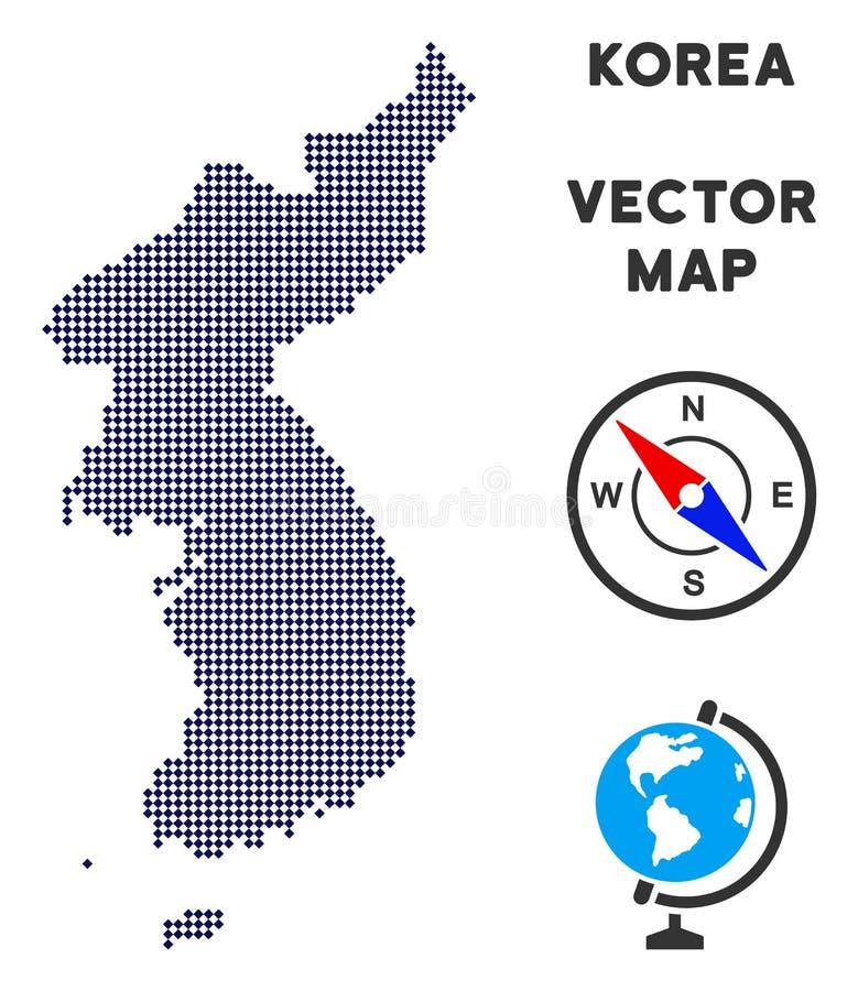 Carte de Dot North And South Korea illustration stock