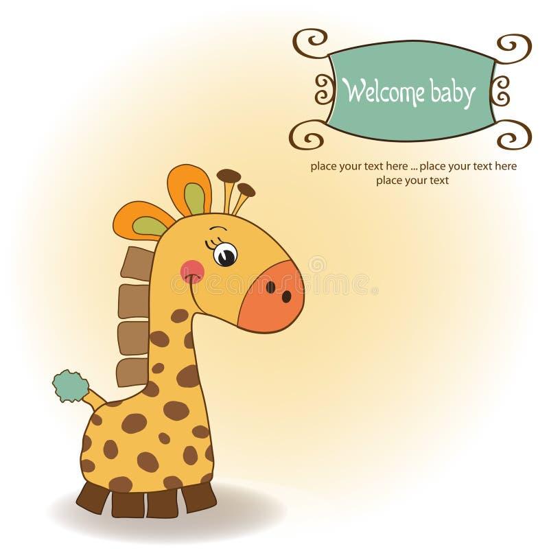 Carte de douche avec le jouet de giraffe illustration stock