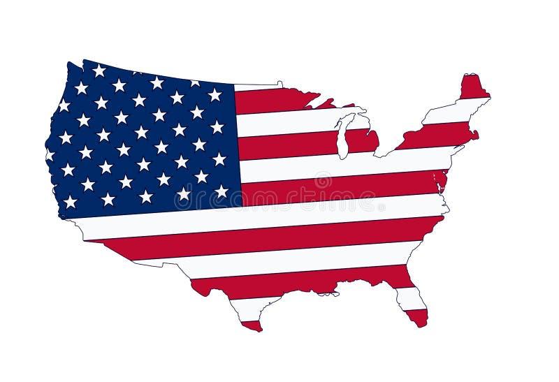 Carte de drapeau des Etats-Unis illustration de vecteur