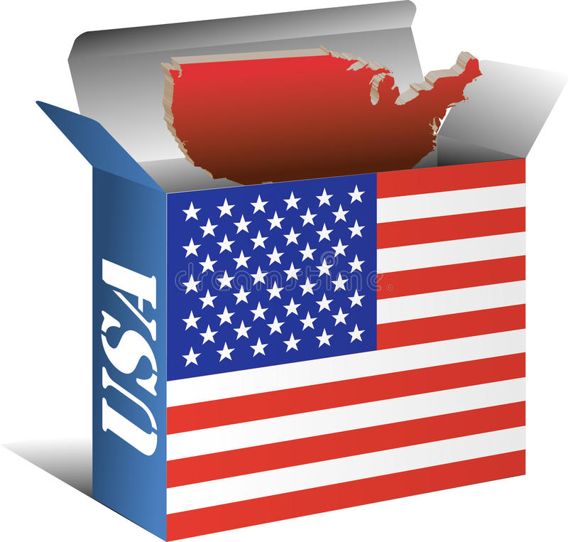 Carte de drapeau des Etats-Unis dans la boîte images stock