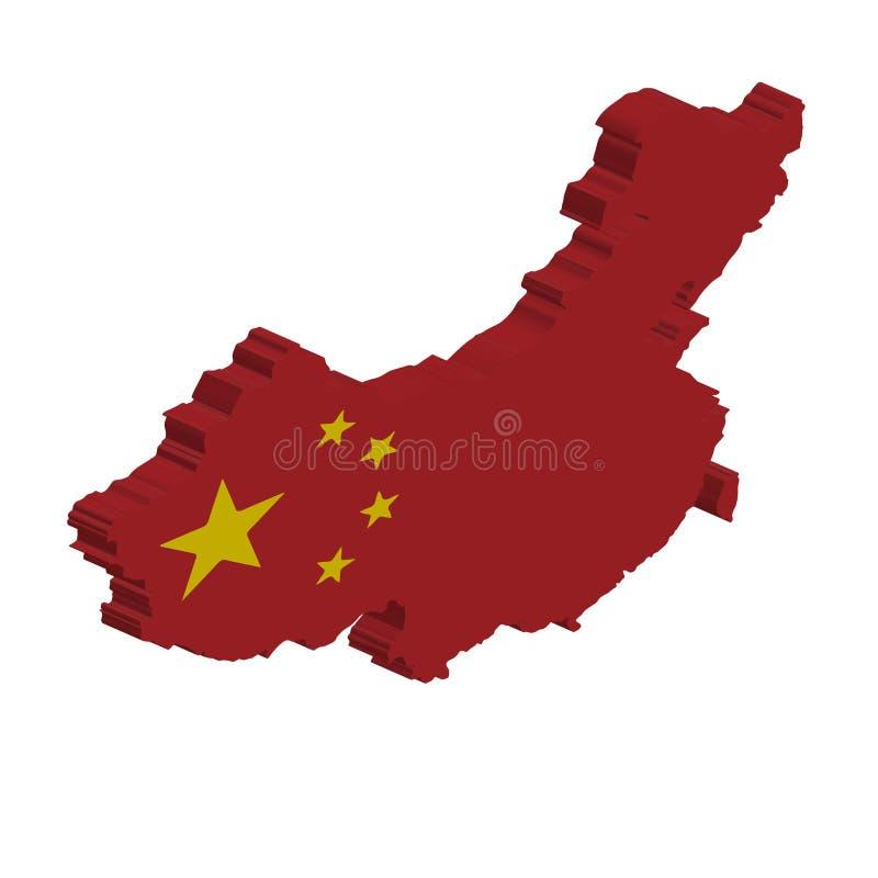 carte de drapeau du vecteur 3D de la Chine illustration stock