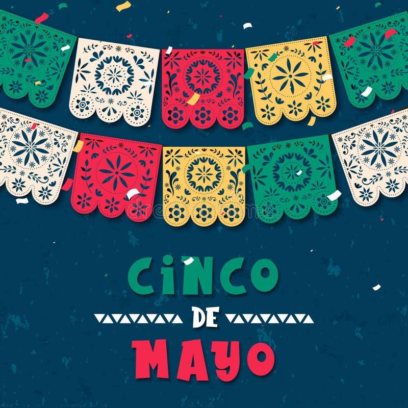 Carte de drapeau de papier de Cinco de Mayo pour des vacances du Mexique illustration de vecteur