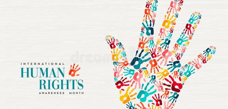 Carte de droits de l'homme des copies colorées de main de personnes illustration stock