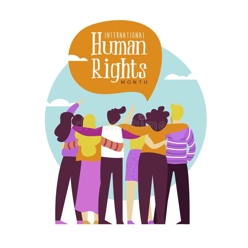 Carte de droits de l'homme de groupe divers d'amie de personnes illustration libre de droits