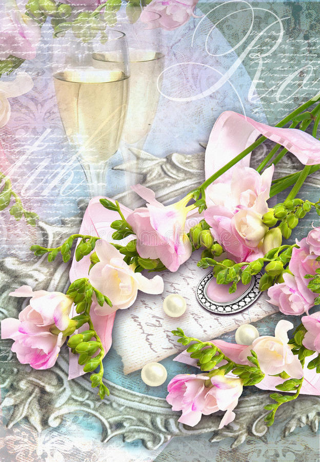 Carte de félicitation avec des verres de champagne, freesias, perls sur le cadre argenté ovale de baguette illustration de vecteur