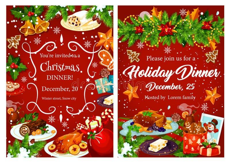 Carte de fête d'invitation de dîner de vacances de Noël illustration libre de droits