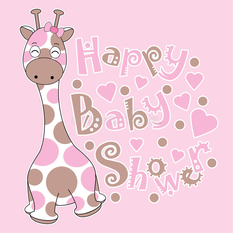 Carte de fête de naissance avec la girafe mignonne de bébé sur le fond rose illustration libre de droits