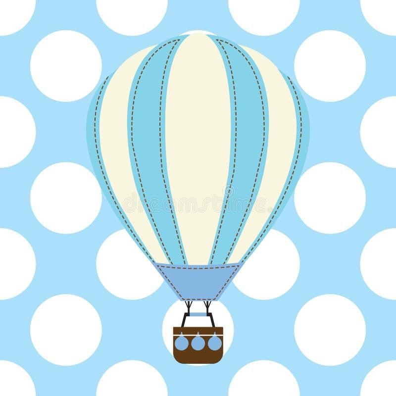 Carte de fête de naissance avec le ballon à air chaud mignon sur le fond bleu illustration de vecteur