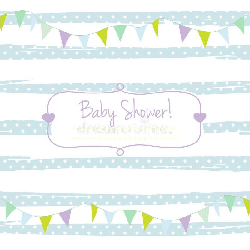 Carte de fête de naissance pour le garçon, tons en pastel bleus, ornement géométrique avec le cadre pour votre texte illustration stock