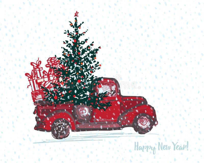 Carte de fête de la nouvelle année 2018 Le camion rouge avec l'arbre de sapin a décoré les boules rouges illustration de vecteur