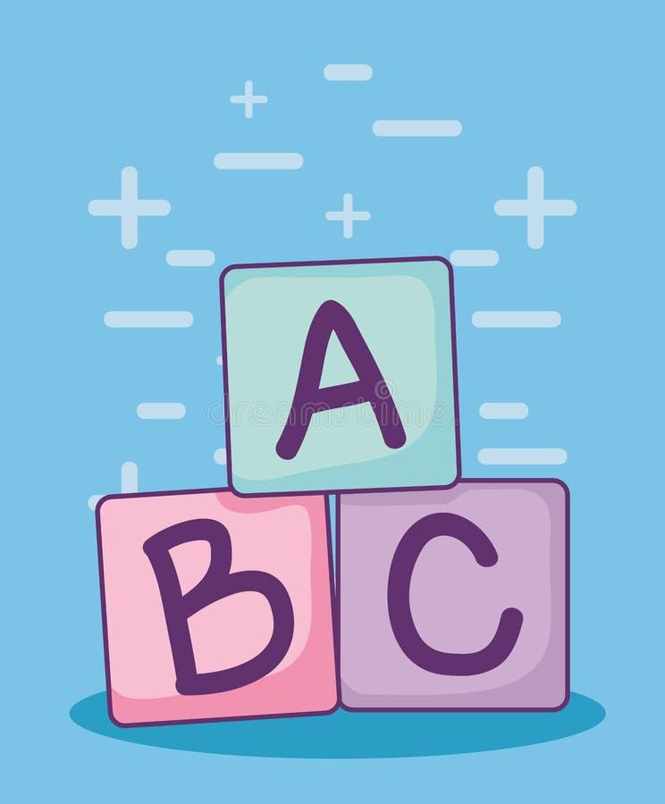 Carte de fête de naissance avec des blocs d'alphabet illustration libre de droits