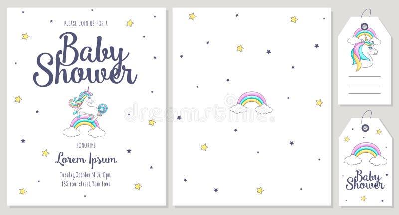 Carte de fête de naissance avec la licorne mignonne illustration libre de droits