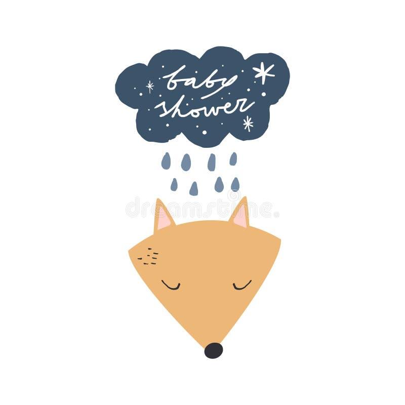 Carte de fête de naissance de vecteur avec le renard illustration de vecteur