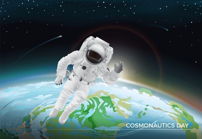 Carte de fête pour la conception graphique de jour de la cosmonautique illustration de vecteur