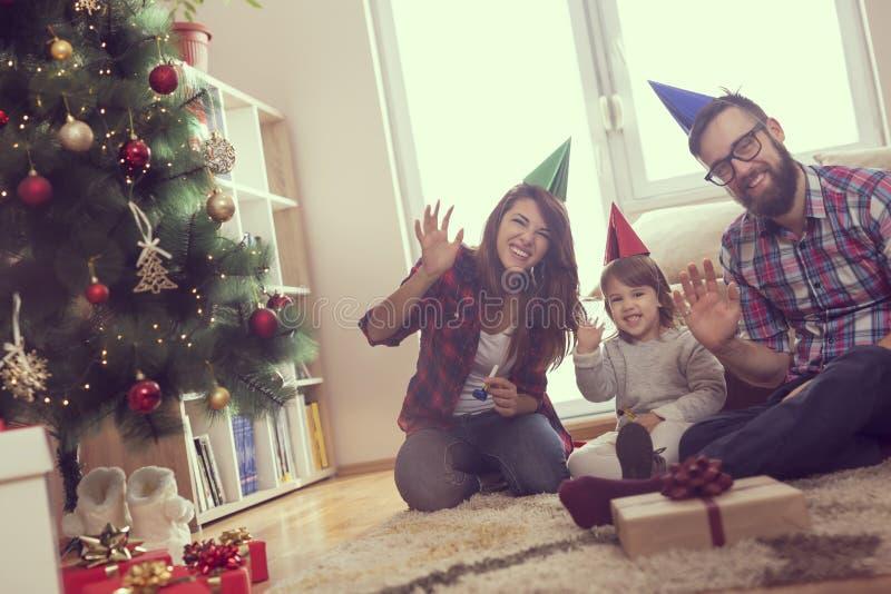 Carte de famille de Noël images libres de droits