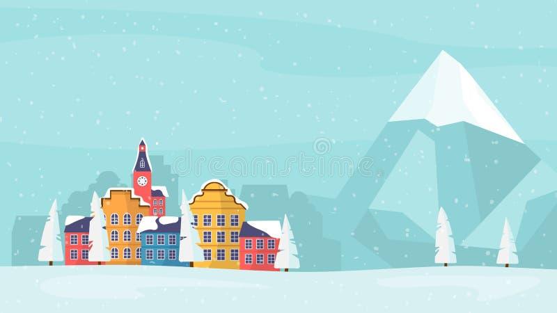 Carte de famille de vacances d'hiver, bannière, affiche illustration de vecteur