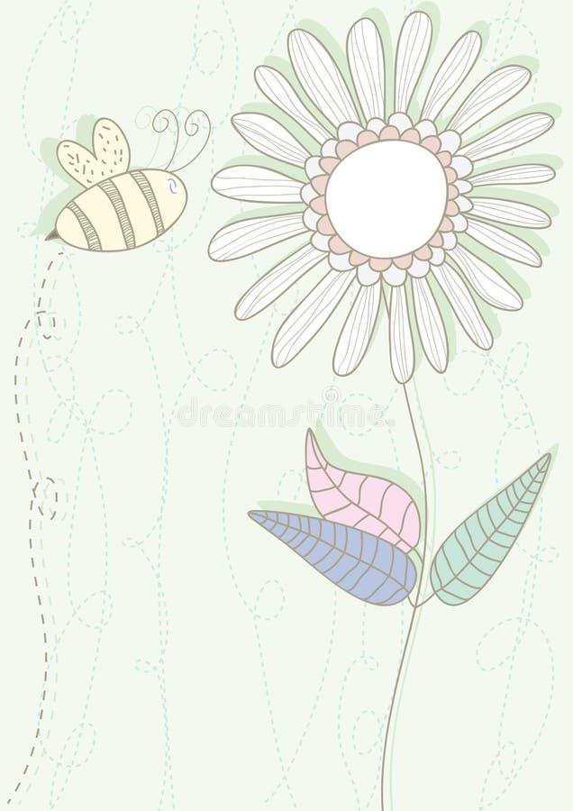 Carte de fleur d'abeille illustration de vecteur