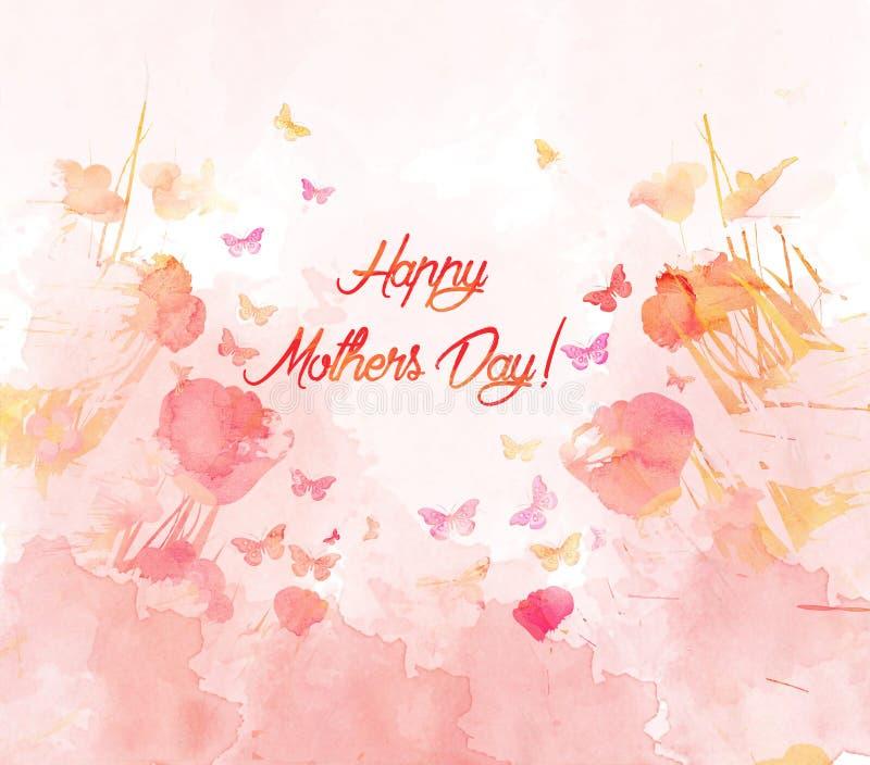 Carte de fleur d'aquarelle la fleur de jour donne à des mères le fils de momie à illustration stock