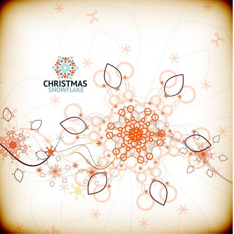 Carte de flocon de neige de Noël de vintage de vecteur illustration stock