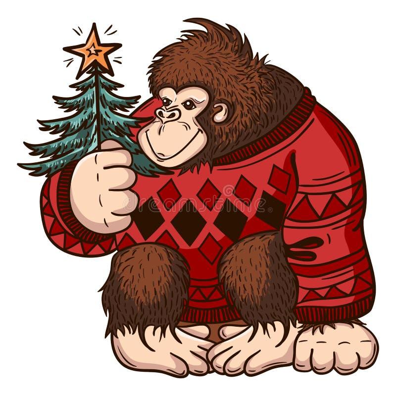 Carte de fond de Noël avec le singe Joyeux Noël et bonne année illustration libre de droits