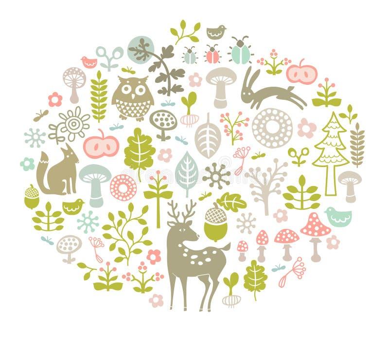 Carte de forêt de vecteur