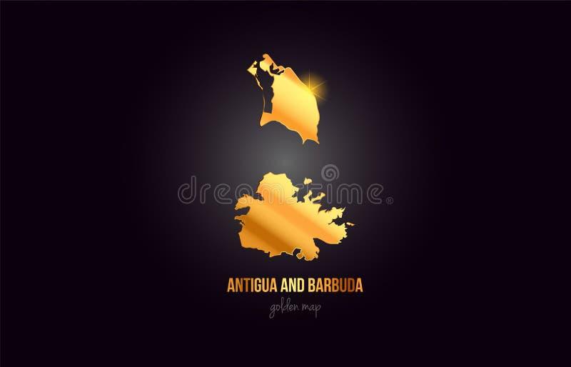 Carte de frontière de pays de l'Antigua-et-Barbuda dans la conception d'or de couleur en métal d'or illustration stock