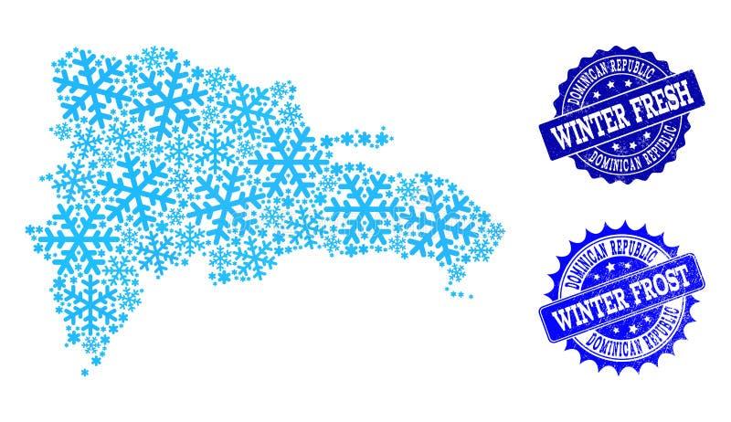 Carte de Frost de la République Dominicaine et de l'hiver frais et des timbres grunges de Frost illustration libre de droits