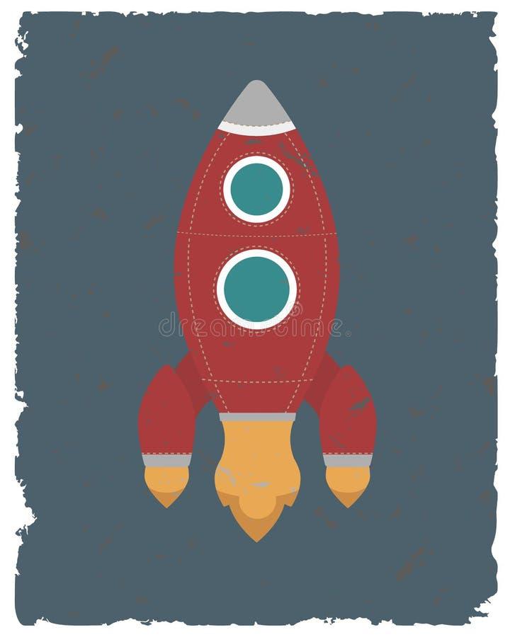 Carte de fusée de vintage Rétro calibre d'affiche Illustration de vecteur illustration libre de droits