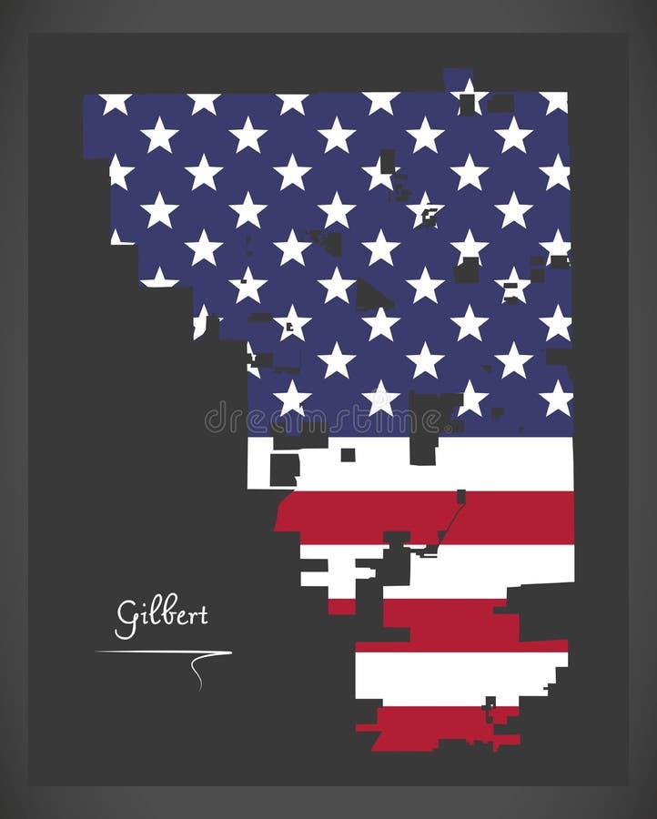 Carte de Gilbert Arizona City avec l'illustration américaine de drapeau national illustration stock