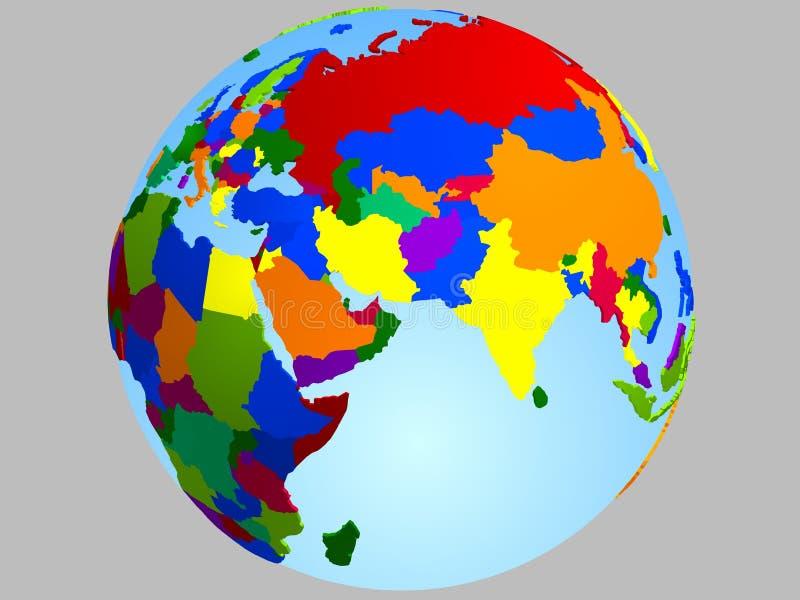 Carte de globe de Moyen-Orient illustration stock